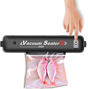 """Food Vacuum Sealer Machine, Portable Automatic Food Packer for Food Saver, Compact for Dry&Moist Food Storage with 15pcs Starter Bags[7.8""""×9.8""""]"""