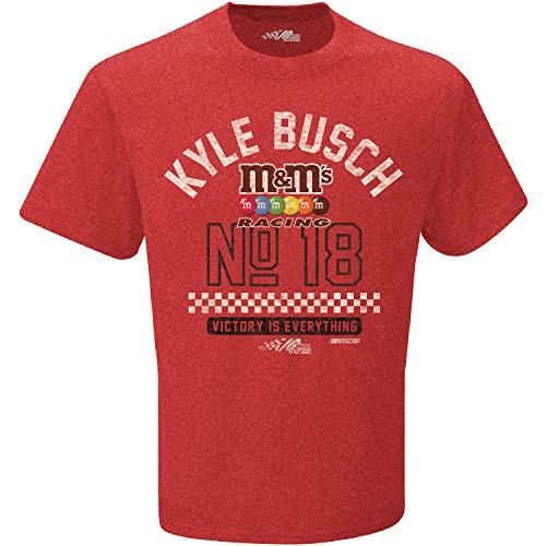 Checkered Flag 2019 NASCAR-Victory-Retro Dual Blend Driver T-Shirt-Kyle Busch #18 M&M's-Heathered Red-Large - Kyle Busch Racing