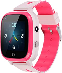 Beacon Pet Kids Smartwatch, 4G WiFi GPS LBS Tracker SOS Emergency Call Video Chat Children Smartwatches, IP67 Waterproof Phone Watch for Boys Girls, Compatible with Android/iPhone iOS (Pink)