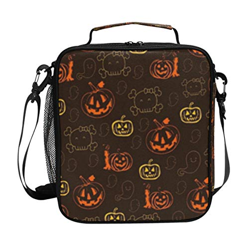 JSTEL Lunch Bag Halloween Pumpkin Handbag lunchbox Food Container Gourmet Bento Coole Tote Cooler warm Pouch For Travel Picnic School Office -