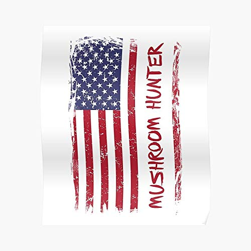 Hunter College Halloween Party (American Mushroom Hunter Usa Flag Poster - For Office Decor, College Dorm, Teachers, Classroom, Gym Workout And School Halloween, Holiday, Christmas Party ! Great Inspirational Wall Art)