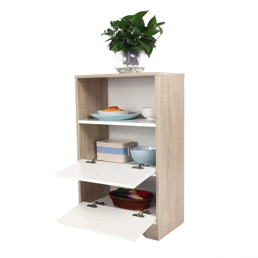 ROBTLE Free Standing Kitchen Cabinet, Multifunction Dining Hall Floor Storage China Cabinet with Bottom Enclosed Space & 2 Drawers, 32x19.7x11.8inch by ROBTLE