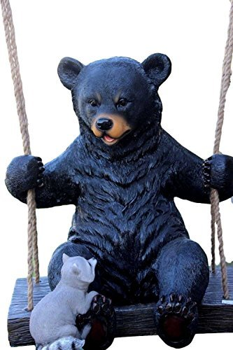 Ebros Large Swinging Black Bear With Buddy Raccoon Hanging Statue With Rope Ties 15″ Tall As Tree Branch Hangers Patio Ceiling Decors Home And Garden Hanging Decorative Figurine For Sale