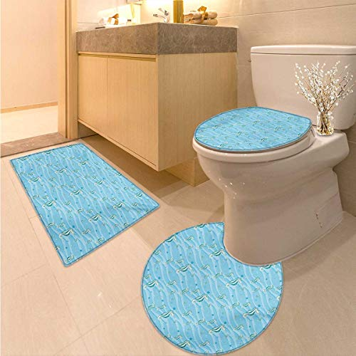 (Anhuthree Animal Bath mat and Toilet mat Set Cartoon Like Seahorses for Kids Nursery Baby Girls Boys Childish Playroom Nautilus Elongated Toilet Lid Cover Set Blue)