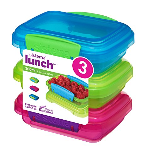 Sistema 41524 Lunch Collection Food storage containers, Blue, Green, Pink (Sandwich Containers For Kids)