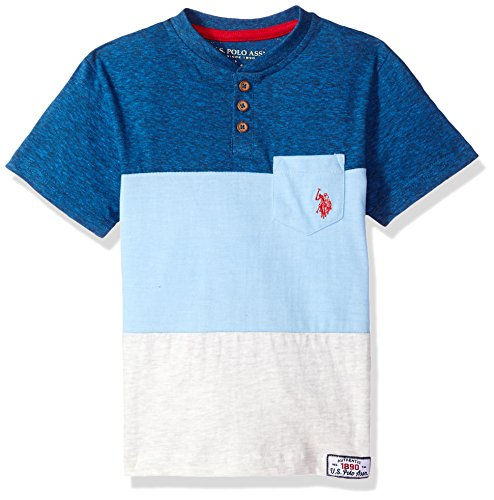 U.S. Polo Assn. Boys Big Short Sleeve Striped Henley T-Shirt, Canvas Patchwork Yale Blue Heather, 14/16