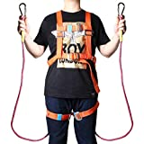 viavia 78.74'' Outdoor Rock Climbing Safety Rope Full Body Escape Safety Survival Fire Rope Rescue Hiking Ropes Carabiner Rappelling Equip Safety Harness