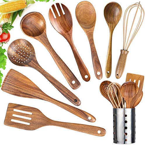 Kitchen Utensil Set Wood,9 Pack Wooden Cooking Utensils with Holder, Natural Teak Wooden Spoons for Cooking,Wooden…
