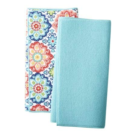 Mainstays Reversible Dish Drying Mat 2-Pack Turquoise and Multicolor Boho Medallion by Mainstays