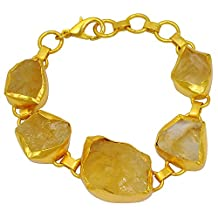 90 Cttw Genuine Citrine 10k Yellow Gold Overlay Brass Bracelet
