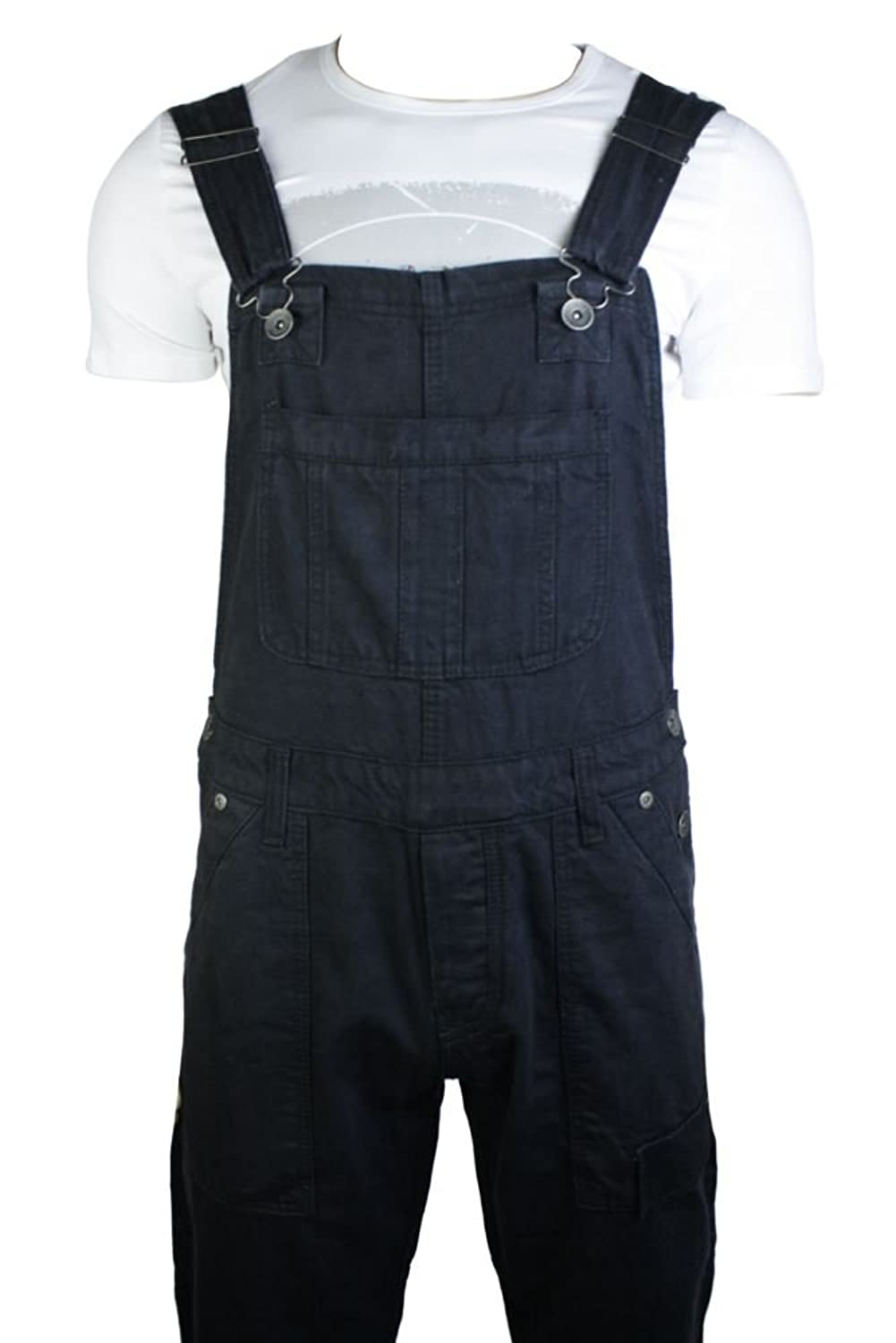 Mens Dungarees Jeans Black Turn Up Jeans Combat Pockets Casual ...
