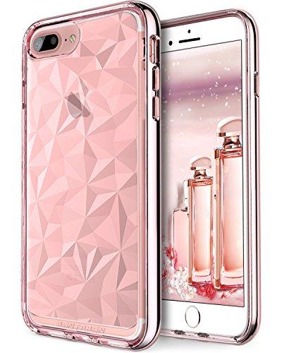BENTOBEN Case for iPhone 8 Plus/iPhone 7 Plus, Super Sleek Slim Shock Proof Flexible Soft TPU Chrome PC Bumper Girls Women Transparent Phone Cases Covers for Apple iPhone 8 Plus/7 Plus, Rose Gold/Pink
