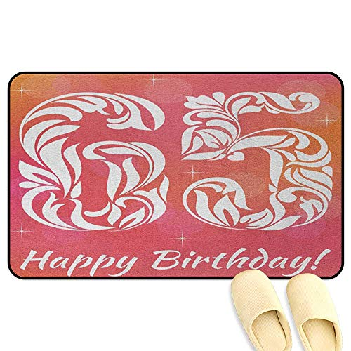 65th Birthday Interior Doormat Greeting Card Inspired Design with Font of Swirls and Curls Abstract Pink Orange White Hard Floor Protection W16 x L24 INCH