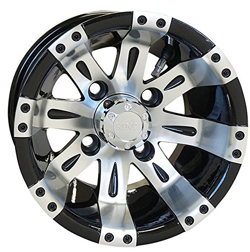 10'' VEGAS Golf Cart Wheels and 205/50-10 DOT Low Profile Golf Cart Tires Combo - Set of 4 (CHOOSE YOUR COLOR!) (Machined/Black)