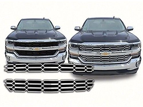QAA FITS SILVERADO 2016-2018 CHEVROLET (2 Pc: ABS Plastic Grille Overlay Insert, LS & LT ONLY) (Chevrolet Grille Insert)