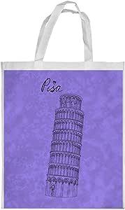 Landmarks - Leaning Tower of Pisa Printed Shopping bag, Large Size