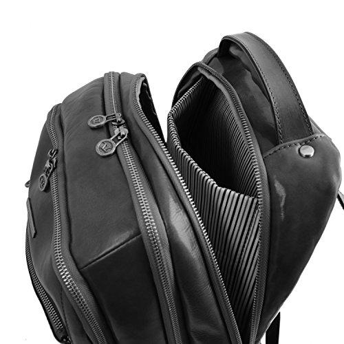 Tuscany Leather - Phuket - Sac à dos en cuir porte ordinateur avec 3 compartiments - Marron