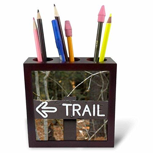 - 3dRose Danita Delimont - Signs - Sign in Mohawk Trail State Forest, Massachusetts, USA - 5 inch tile pen holder (ph_259450_1)