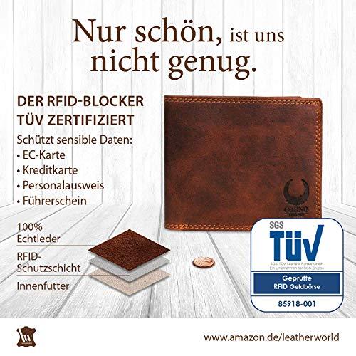 28d310452441e Geldbörse Herren Leder I XL Geldbeutel mit TÜV-zertifiziertem RFID Schutz I  Brieftasche mit Münzfach aus Echtleder I Portemonnaie im Vintage-Look in ...