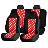 FH GROUP FH-FB115114 Full Set Fun Polka Dots Car Seat Covers , Red color- Fit Most Car, Truck, Suv, or Van