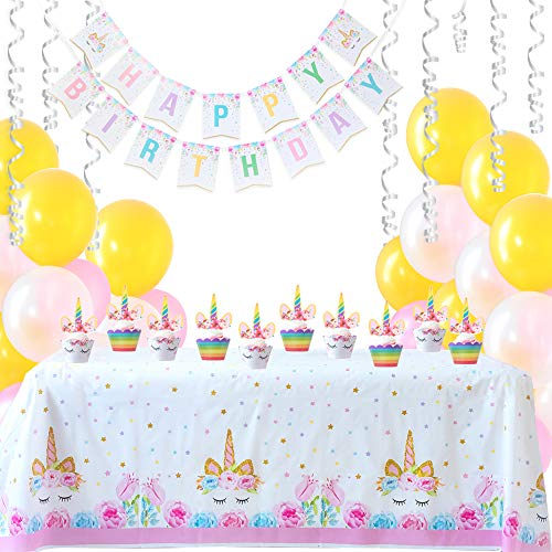 Magical Unicorn Birthday Party Supplies Bundle | 97-Pcs Super-Cute Unicorn Party Decorations For Girls | Adorable Cupcake Toppers & Wrappers | Happy Birthday Banner | Colorful Balloons & Table Cover