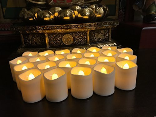 Flameless LED Tea Light Candles, Magicpro Battery-powered Unscented LED Tealight Candles, Fake Candles, Tealights, 24 Pack (Memorial Proof)