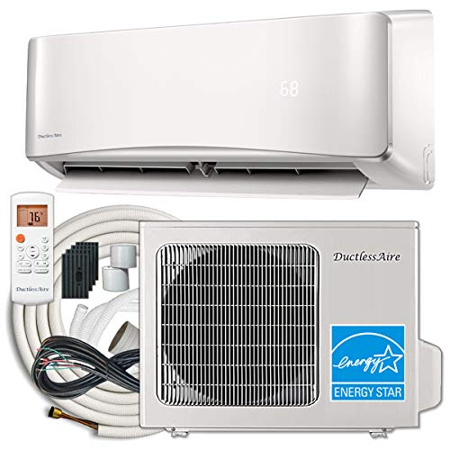 DuctlessAire Energy Star Ductless Mini Split Air Conditioner and Heat Pump Variable Speed Inverter 220V, 25ft Installation Kit (12000 Btu 22 SEER)