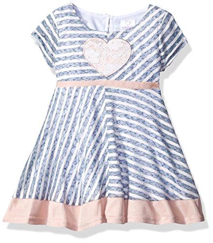 Youngland, Vestido de Punto con Paneles y Aplique de corazón para niñas, Azul/Rosa/Multicolor, 18 Meses