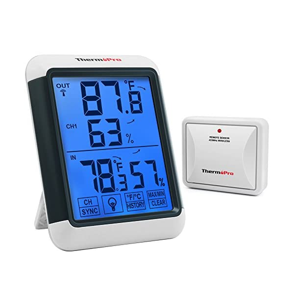 ThermoPro-TP65-Digital-Wireless-Hygrometer-Indoor-Outdoor-Thermometer-Wireless-Temperature-and-Humidity-Monitor-with-Jumbo-Touchscreen-and-Backlight-Humidity-Gauge-200ft60m-Range