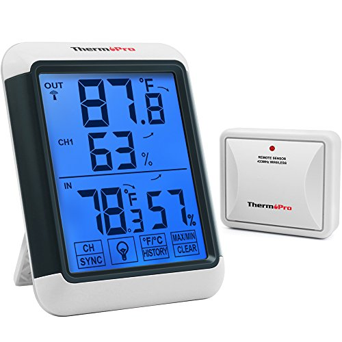 - ThermoPro TP65 Digital Wireless Hygrometer Indoor Outdoor Thermometer Wireless Temperature and Humidity Monitor with Jumbo Touchscreen and Backlight Humidity Gauge, 200ft/60m Range
