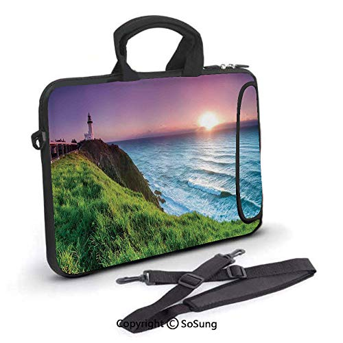 Byron Bay Surf - 17 inch Laptop Case,Byron Bay Lighthouse During Sunrise Nature Hill Dawn Sunbeams Scenic Seashore Neoprene Laptop Shoulder Bag Sleeve Case with Handle and Carrying & External Side Pocket,for Netbook/M