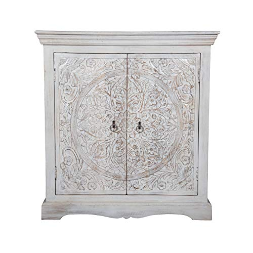 Maadze Carved Wooden White Storage Cabinet