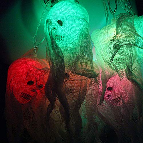 Halloween Skull Ghost LED Lights 20 Scary Mesh Ghost Head LED Waterproof Decor Lights for Indoor Outdoor Halloween Christmas Holiday Party Decoration (Multicolor)