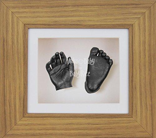 BabyRice 3D Baby Boy Casting Kit Oak Effect Display Frame Pewter Foot Casts