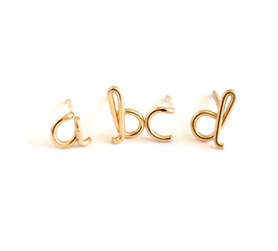 alphabet yellow stainless gold amazon stud earrings colors hypoallergenic letter steel rose dp initial com assorted