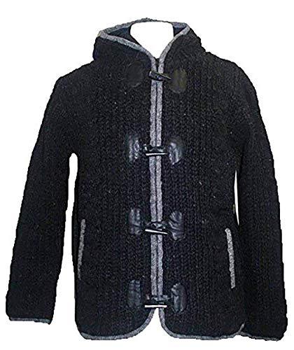 Agan Traders BADA Womens Lamb Wool Toggle Bolt Lined Cardigan Sweater [Charcoal/Grey; X-Large]