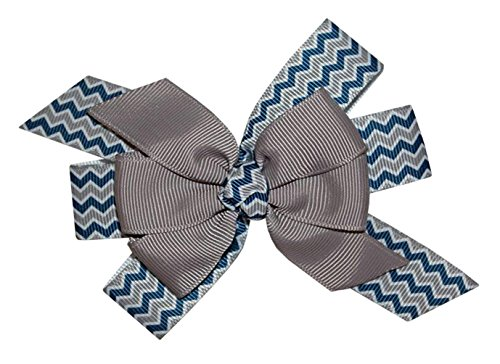 WD2U Girls Navy & Silver Chevron Football Team Colors Hair Bow Alligator Clip US