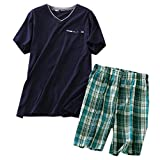 ENJOYNIGHT Men's Summer Short Sleeve Pajamas Adult Casual Shorts & Shirt PJ Set (X_Large, V Navy2)