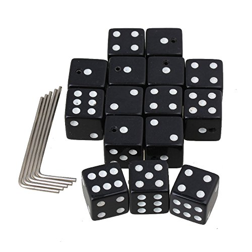 Mxfans 15Pcs Creative Dice Guitar Volume Control Knobs Plastic with Wrench Black
