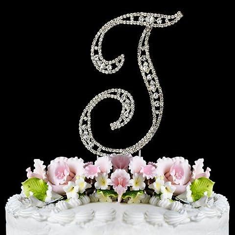 Vintage ~ Swarovski Crystal Wedding Cake Topper ~ Letter T - Swarovski Crystal Wedding Cake