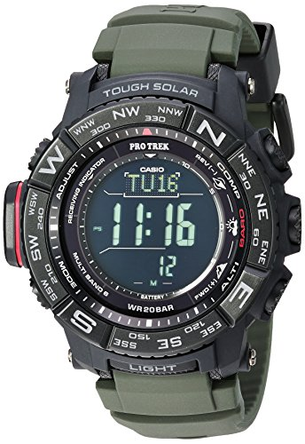 - Casio Men's 'PRO TREK' Tough Solar Powered and Stainless Steel Watch, Color:Green (Model: PRW-3510Y-8CR)