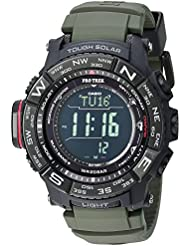 Casio Mens PRO TREK Quartz Stainless Steel and Silicone Casual Watch, Color:Green (Model: PRW-3510Y-8CR)