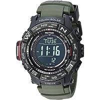 Casio De los hombres 'Pro Trek' cuarzo, de acero inoxidable y silicona reloj Casual, color: verde (modelo: prw-3510y-8cr)