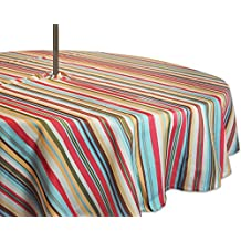 """DII 100% Polyester, Spill proof and Waterproof, Machine Washable, Outdoor Tablecloth With Zipper and Umbrella Hole, 60"""" Round, Warm Summer Stripe, Seats 4 People"""