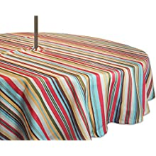 "DII Spring & Summer Outdoor Tablecloth, Spill Proof and Waterproof with Zipper and Umbrella Hole, Host Backyard Parties, BBQs, & Family Gatherings - (52"" Round - Seats 2 to 4) Warm Summer Stripe"