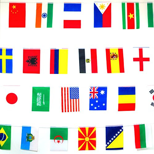 Banner 200 International Country Flags Bunting. Party Decorations, Bars, Sports Clubs, Events, School Festivals, Celebrations. 165ft Long String, 8.2'' x 5.5'' each. +FREE Country Fun Facts Guide