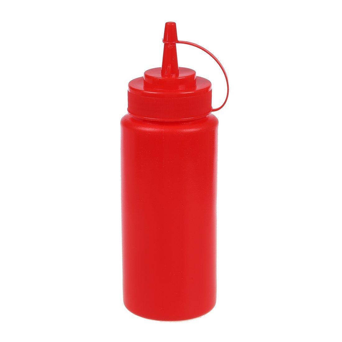 bottiglie di salsa - SODIAL(R) 16 once Plastica da cucina salsa di dispenser di compressione bottiglia - Rosso TRTA11A