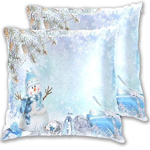 Wamika Christmas Snowman Greeting with Pine Branches Pillow