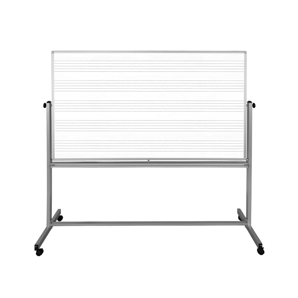 Offex 72'' x 48 '' Double Sided Mobile Staff Printed Music Whiteboard