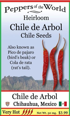 Chile De Arbol Seeds - Heirloom from Oaxaca - Pico de Pajaro - 10 Seeds -